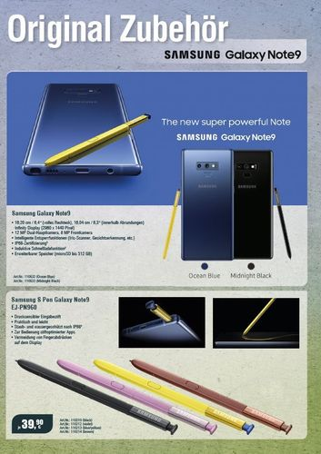 Download: Samsung Zubehörflyer Note 9